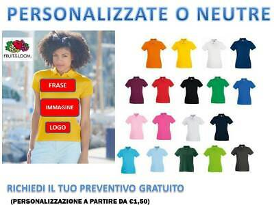 Polo Donna Manica Corta Fruit Of The Loom Premium Cotone  Personalizzabile