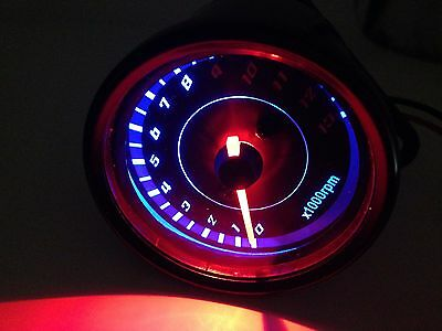 Led Motorcycle Tradition Tachometer Tacho Gauge Meter Cafe Racer Old Shcool CB