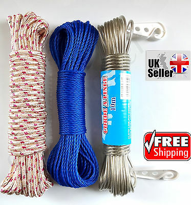 10/15/20M Clothe Laundry Washing Line Metal Steel Core Braided Rope Nylon String