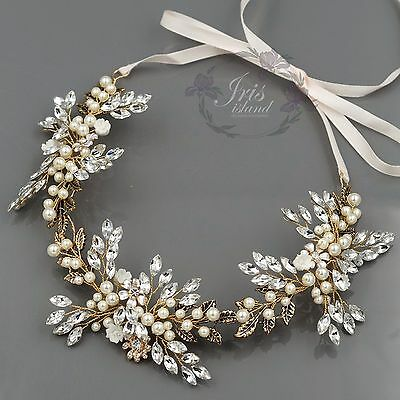 Crystal Pearl Flower Headband Headpiece Tiara Bridal Wedding Accessory 599 Gold