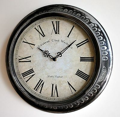 wanduhr wall clock metall glas vintage shabby melbourne. Black Bedroom Furniture Sets. Home Design Ideas