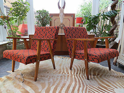 A Pair Of Orange German / Danish Style Cocktail Lounge Armchairs 1970 Jy16/3