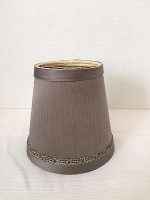 Clip On Fabric Shade Gray Iridescent Small Bulb Lamp Chandelier 3 left