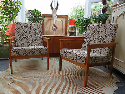 A PAIR OF VINTAGE EAST GERMAN / DANISH STYLE LOUNGE ARM CHAIRS C1970 Jy16/6