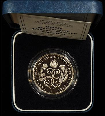 Great Britain 1990 Queen Mother 5 Pounds Silver Proof In A Box