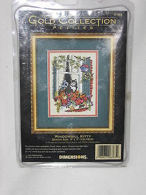 Gold Collection Counted Cross Stitch Kit Windowsill Kitty 6763 Dimensions Petite