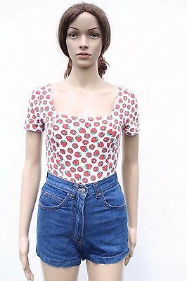 Vintage 1990s Raspberry Fruit Print Body All-in-one Top Cotton T Shirt S 8-10