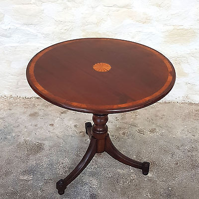 George III Mahogany Inlaid & Marquetry Tripod Occasional Table - C18th Antique
