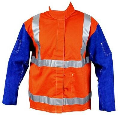 Weldclass Promax Fire Retardant HV Welding Jacket with Leather Sleeves (4XL)
