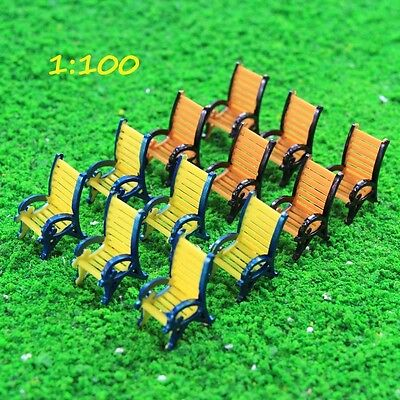 TYS18100 12pcs Model Train Railway Platform Leisure Chair Bench Settee 1:100 TT