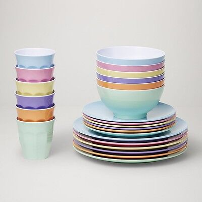 Barel Classic Dream Melamine 24 Piece Dinner Set With Tumblers, Plates, & Bowls!