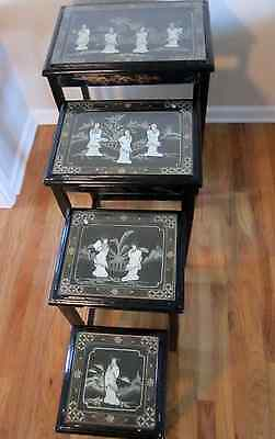 Oriental Asian Mother of Pearl Black Lacquer Glass Top 4 Stacking Nesting Tables