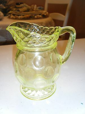 Vintage Central Glass Co Late 1800 Vaseline Yellow Creamer 5 Inches High