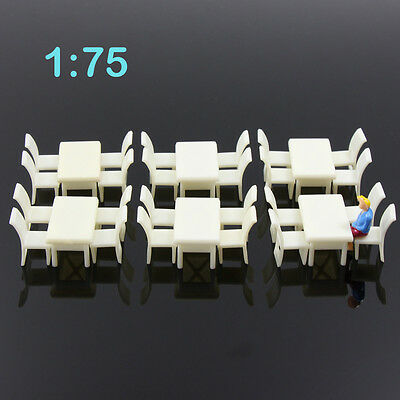 ZY02075 6pcs White Square Dining Table Chair Settee Railway Model 1:75 OO Scale
