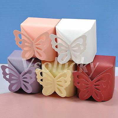50 - 200pcs Butterfly Pattern Wedding Party Favor Gift Boxes Ribbon Candy Bags