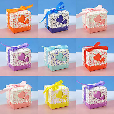 50 - 200pcs Heart-shaped Window Wedding Favor Gift Boxes Ribbon Candy Bags Decor