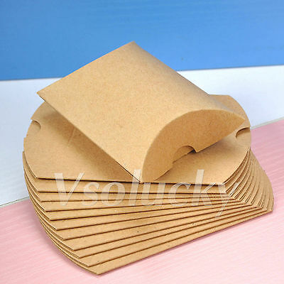 20 - 200 Kraft Brown Paper Pillow Gift Candy Box Birthday Wedding Party Decor