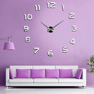 New Fashion DIY 3D Mirror Large Number Wall Clock Sticker Home Decor Nice