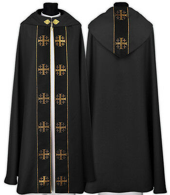 "Black Gothic Cope ""Jerusalem Crosses"" with matching stole K103-CZ us"