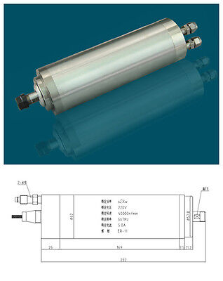 1HP 0.8kw ER11 40000RPM Precision High Speed spindle motor water cooling 220VAC