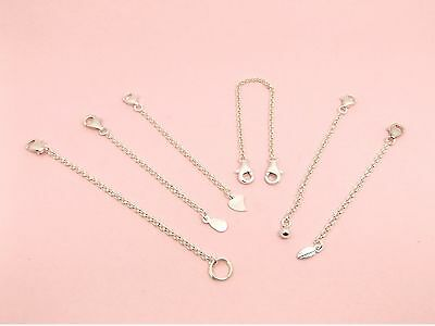 925 Sterling Silver ROLLO Chain SAFETY Extension EXTENDER ~Lobster CLASP + Drop~