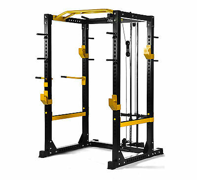 PowerGym Fitness Commercial Olympic Power Rack Cage Squat Smith Machine Lat Pull