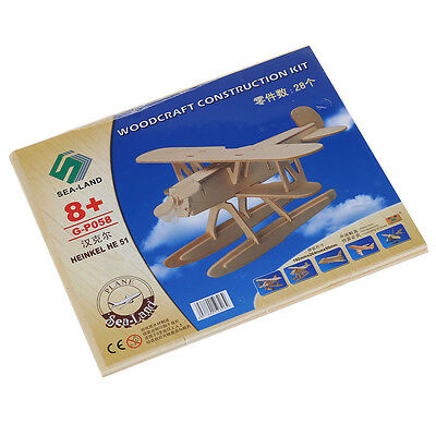 FP 3D Woodcraft DIY Heinkel HE51 Plane Model Wooden Construction Kit Toy Gift
