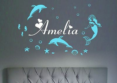 Mermaid Dolphins Turtles Wall Stickers with Any Name Custom Ocean Theme Sea