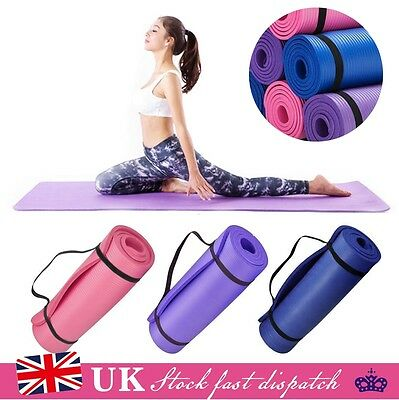 Yoga Mat 15mm Thick Exercise Fitness Physio Pilates Gym Mats Non Slip Carrier