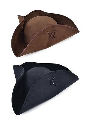 Adult Black Or Brown Pirate Tricorn Hat #fancy Dress Caribbean Accessory