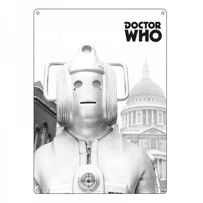 Doctor Who Cyberman Steel Metal Sign Tv Series Dr BBC Dalek Greyscale Official