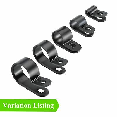 Black Nylon Plastic P Clips - Fasteners for Conduit, Cable, Tubing & Sleeving