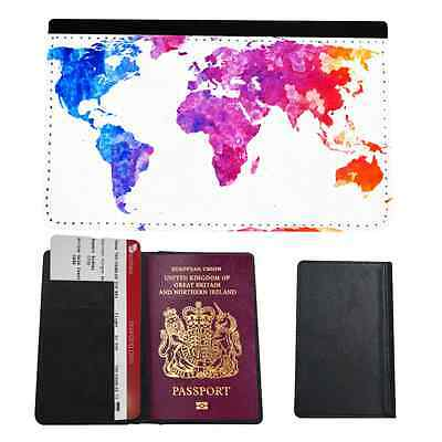 World Map Art Faux Leather Passport Holder Cover Case