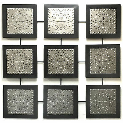 Abstract Metal Wall Art Modern Hanging Iron Sculpture Squares Silver 99cm 3396