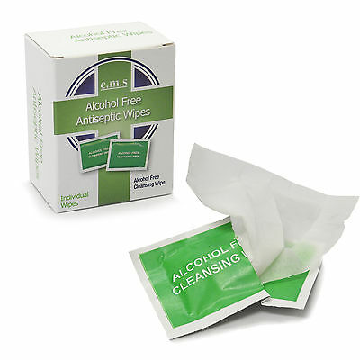 50 x Individual Anticeptic Alcohol Free First Aid Skin Cleaning Sterile Wipes