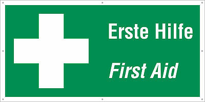 erste hilfe first aid bauzaunbanner festival banner. Black Bedroom Furniture Sets. Home Design Ideas