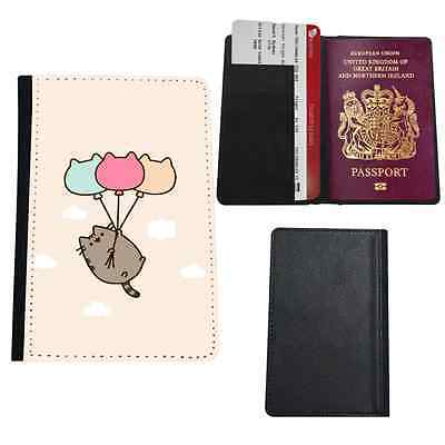 Cute Cat Floating Faux Leather Passport Holder Travel Cover Case