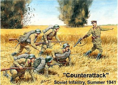 Counterattack, Soviet Infantry, Summer 1941 Wwii 1/35 Master Box 3563 De