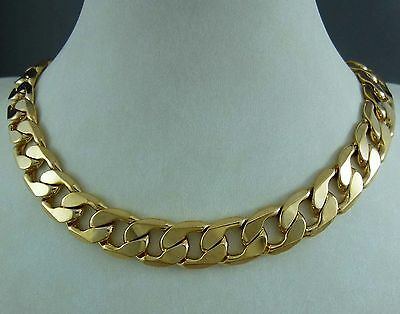 "24"" 60cm 9ct Yellow Gold GF Mens Curb Solid Necklace -12.5mm! 9k gf Heavy!"