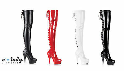 37e826319dca Pleaser Delight-3063 Over The Knee Thigh High Boots Platform Heels Lace Up  Zip