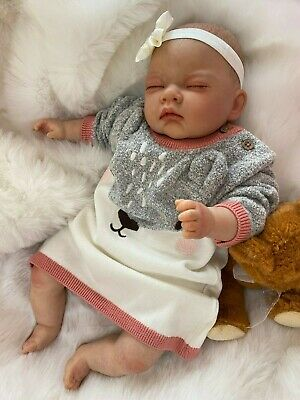 "Childrens Kids Reborn Baby Doll Real Girl Alice Realistic 18""  Lifelike Uk Hair"