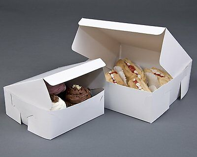 Folding White Cake Box & Lid Wedding / Birthday / Party / Food / Muffin Cakebox