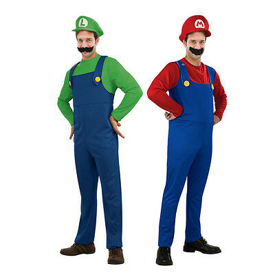Adult Kids Mario Luigi Bros Fancy Dress World Book Day Costume Outfit
