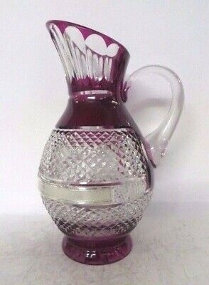Italian Silver Laminate & Colored Crystal Handcrafted Elegant Pitcher Cr1854F