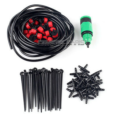 20m Hose 25x Drippers Micro Drip Irrigation System Plant Watering Garden Kits