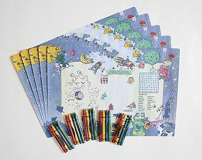 Set Of 5 Alien Placemats And Crayons