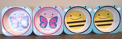 Skip Hop Zoo Bowl Combo Bee/Butterfly -4 Pack NEW