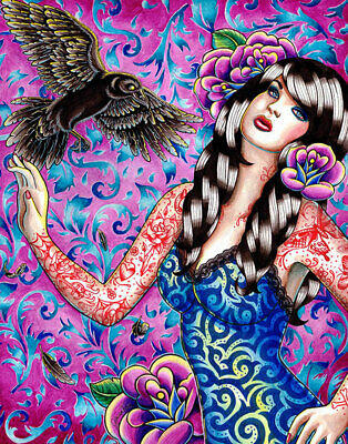 Raven Tattooed Pin Up Girl by Carissa Rose Canvas Giclee Colorful Tattoo Flash