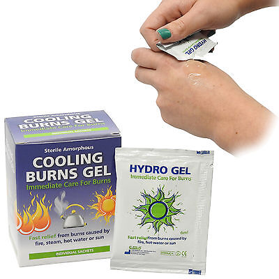 Box of 6 Burns Cooling Catering Instant Relief Sterile Hydro Gel Sachets 6ml