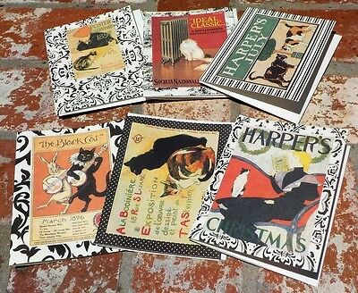 Set Of 6 French Poster / Advertisement Blank Note Card Hand Made Free Shipping !